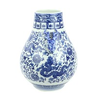 Chinese Vase Porcelain Deers Dragon Blue White D24xH29cm