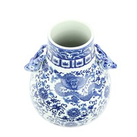 Chinesische Vase Porzellan Drache Hirsche Blau und Weiß D24xH29cm
