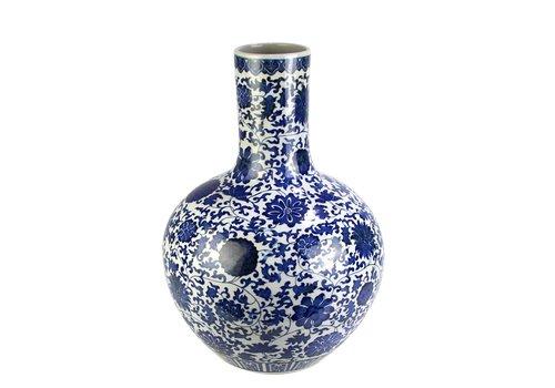 Fine Asianliving Jarrón de Porcelana Chino Loto Azul y Blanco D.32 x Alt.46 cm