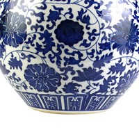 Chinese Vaas Porselein Lotus Handgeschilderd Blauw-Wit D32xH46cm
