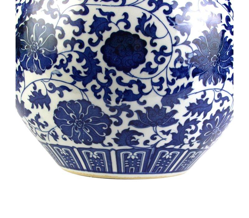 Vaso Cinese in Ceramica Porcellana Loto Blu e Bianco D32xA46cm