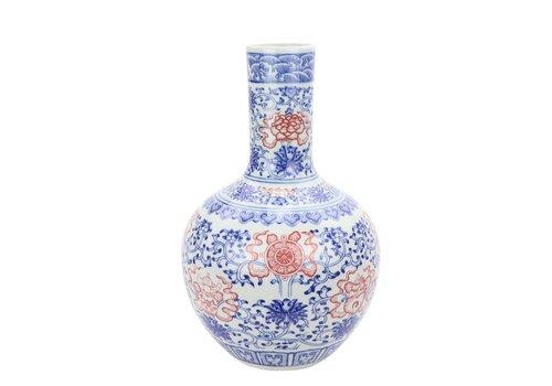Fine Asianliving Chinesische Vase Porzellan Lotus Rot und Blau D22xH34cm