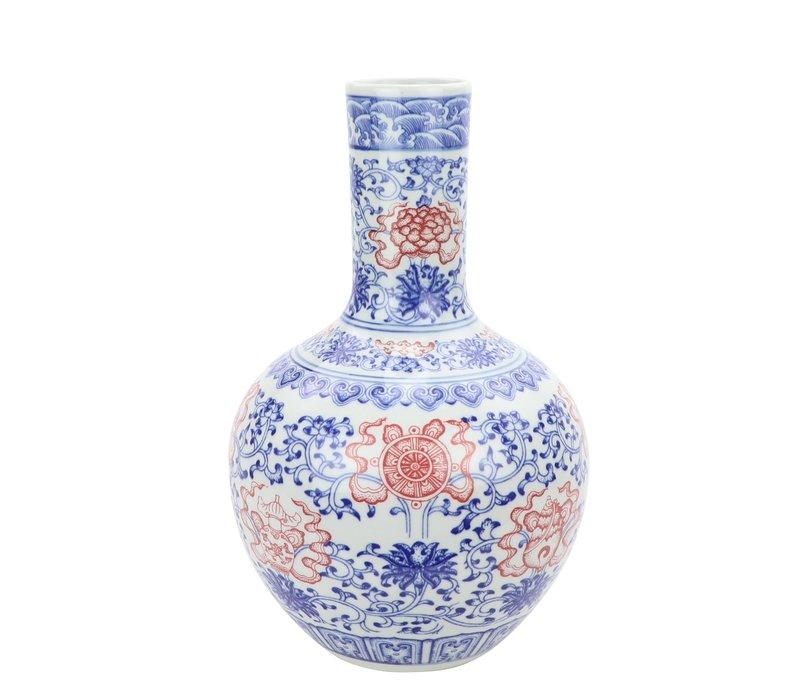 Chinesische Vase Porzellan Lotus Rot und Blau D22xH34cm