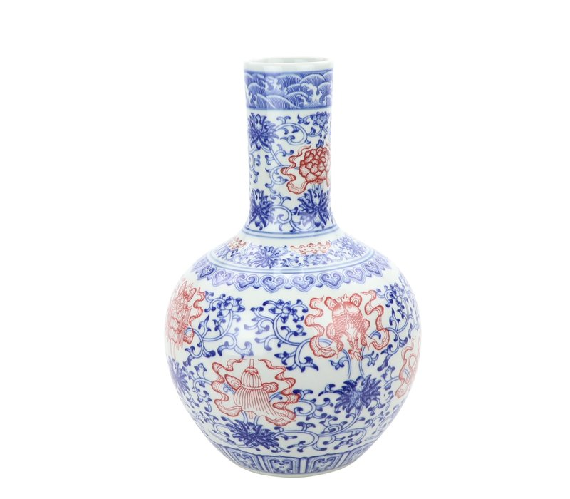 Chinese Vaas Porselein Lotus Handgeschilderd Rood Blauw D22xH34cm