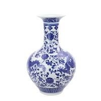 Chinese Vaas Porselein Blauw-Wit Handgeschilderd Draak D22xH35cm