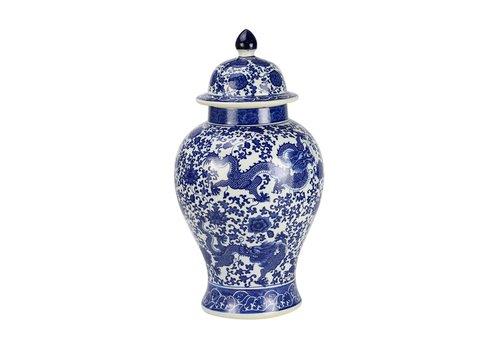 Fine Asianliving Tarro de Jengibre Chino Porcelana Dragón Azul y Blanco D.27 x Alt.51 cm