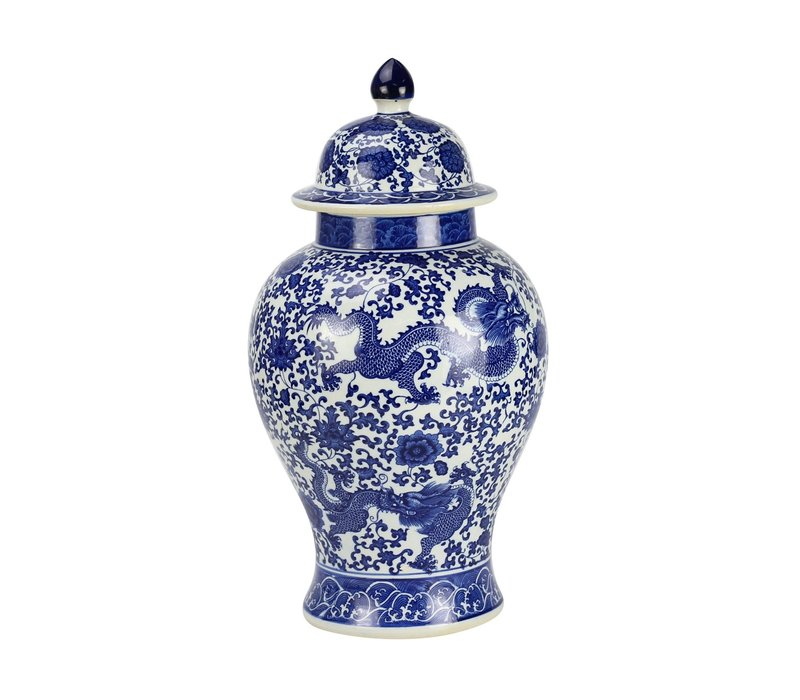 Chinese Ginger Jar Porcelain Dragon Blue White D27xH51cm
