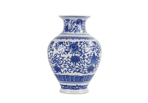 Fine Asianliving Chinesische Vase Porzellan Lotus Blau und Weiß D21xH28cm