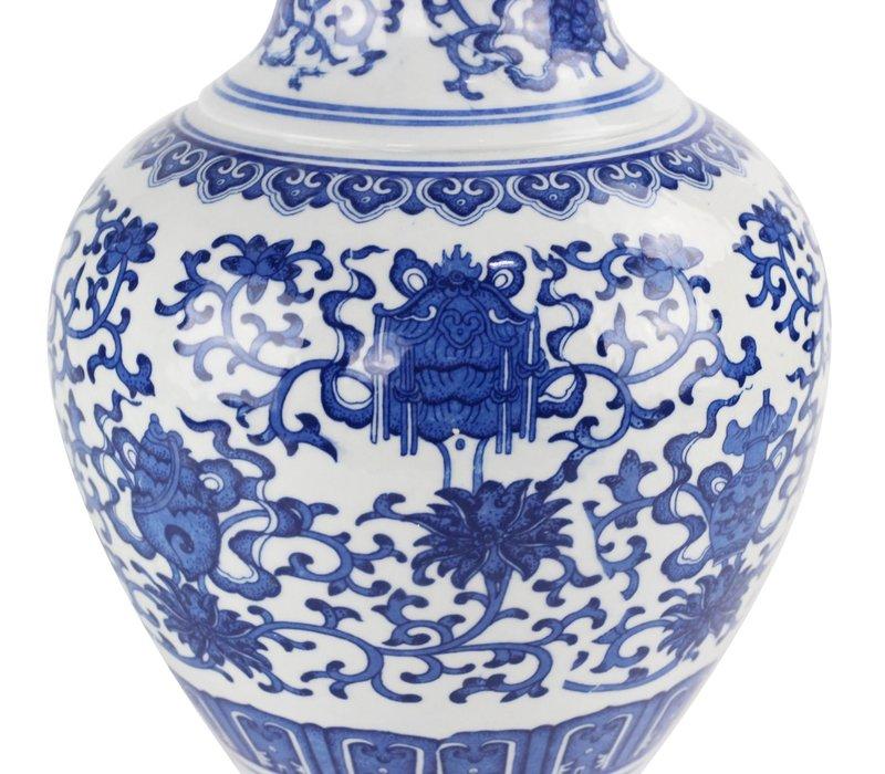 Chinese Vaas Porselein Handgeschilderd Lotus Blauw-Wit D21xH28cm