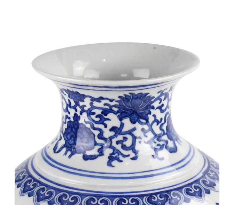Chinese Vase Porcelain Lotus Blue White D21xH28cm