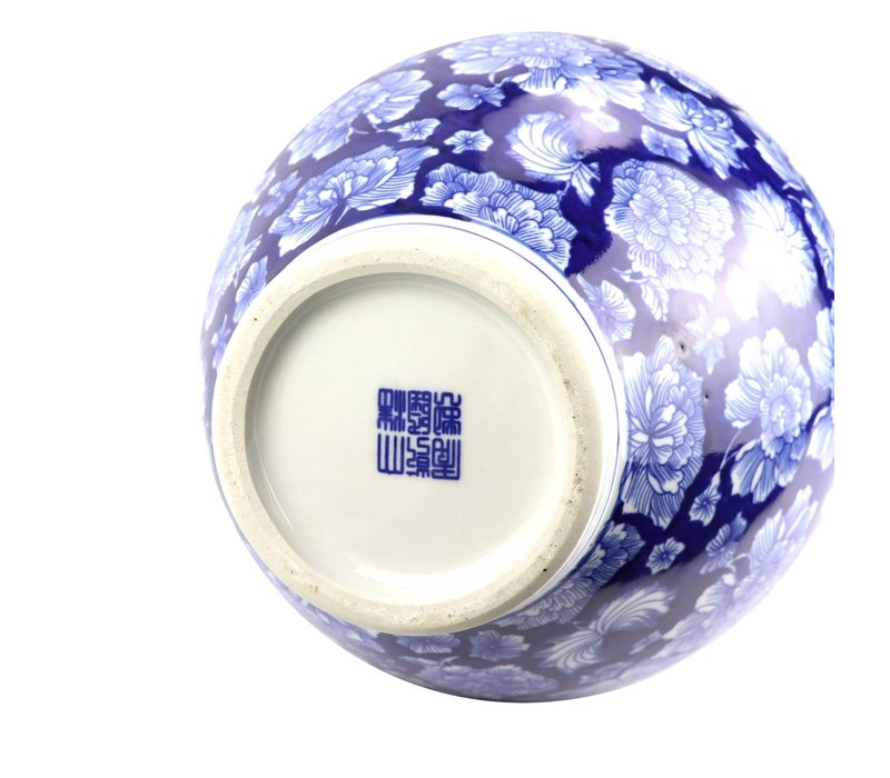 Chinese Vaas Porselein Handgeschilderde Pioenen Marineblauw D21xH37cm