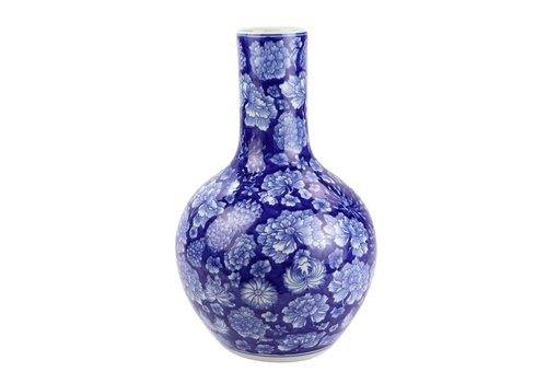Fine Asianliving Chinese Vase Porcelain Navy Blue Peony D22xH35cm