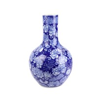 Chinese Vaas Porselein Handgeschilderde Pioenen Marineblauw D22xH35cm