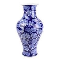 Chinese Vaas Porselein Handgeschilderde Pioenen Marineblauw D19xH36cm