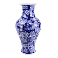 Chinesische Vase Porzellan Pfingstrose Marineblau D19xH36cm