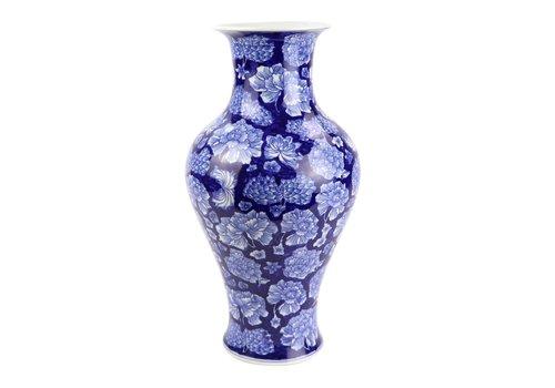 Fine Asianliving Chinesische Vase Porzellan Pfingstrose Marineblau D19xH36cm