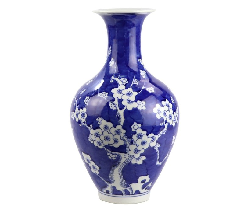 Chinese Vaas Porselein Bloesems Handgeschilderd Marineblauw D19xH35cm