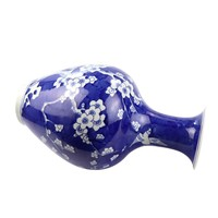 Chinese Vaas Porselein Handgeschilderd Marineblauw Bloesems D19xH35cm
