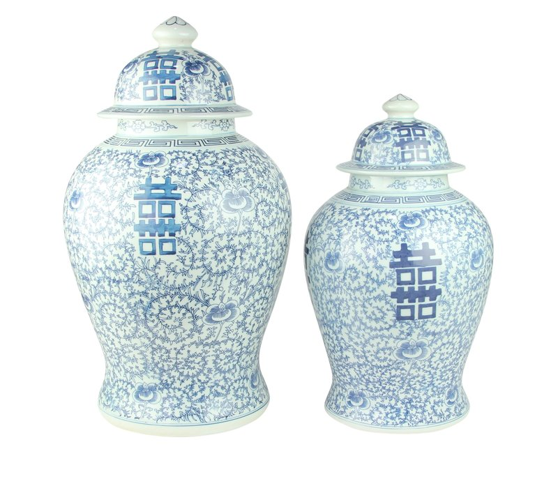 Chinese Gemberpot Happiness Handgeschilderd Blauw-Wit D31xH52cm