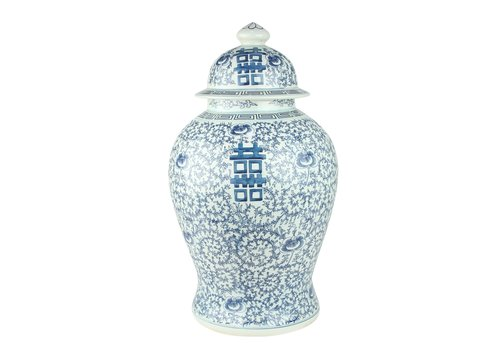 Fine Asianliving Tarro de Jengibre Chino Porcelana Doble Suerte Azul y Blanco D.24 x Alt.42 cm