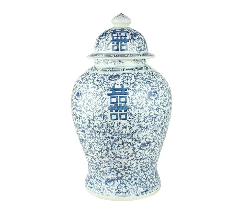 Chinese Ginger Jar Porcelain Blue White Double Happiness D24xH42cm