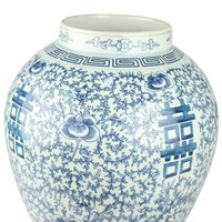 Chinese Gemberpot Happiness Handgeschilderd Blauw-Wit D24xH42cm