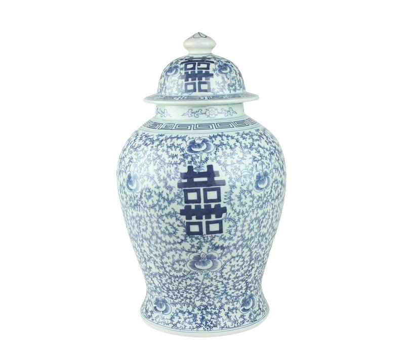 Chinesischer Ingwertopf Porzellan Doppelglück Blau und Weiß D24xH42cm