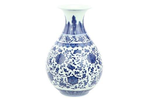 Fine Asianliving Jarrón de Porcelana Chino Loto Azul y Blanco D.20 x Alt.31 cm