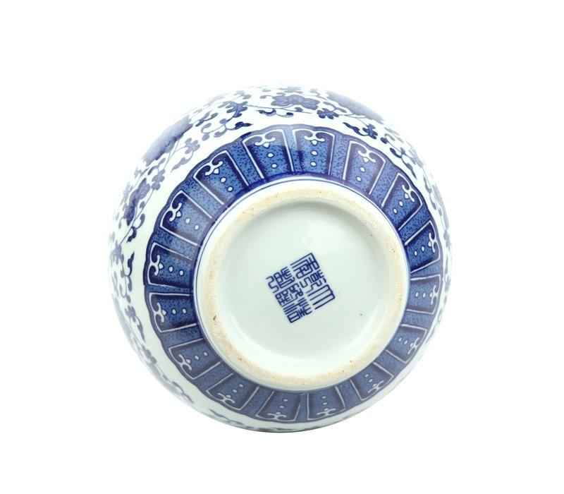 Chinese Vase Porcelain Lotus Blue White D20xH31cm