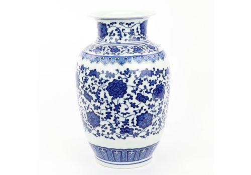Fine Asianliving Chinese Vaas Porselein Handgeschilderd Lotus Blauw-Wit D19xH30cm