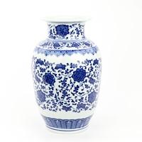 Chinese Vase Porcelain Lotus Blue White D19xH30cm