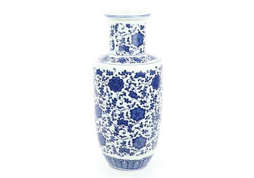 Fine Asianliving Jarrón de Porcelana Chino Loto Azul y Blanco D.17 x Alt.38 cm