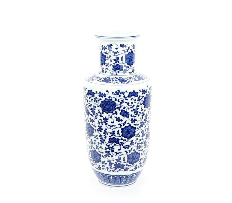 Chinese Vase Porcelain Lotus Blue White D17xH38cm