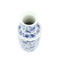 Chinese Vaas Porselein Handgeschilderd Lotus Blauw-Wit D17xH38cm