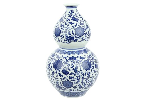 Fine Asianliving Chinese Vaas Porselein Lotus Handgeschilderd Blauw-Wit D19xH33cm