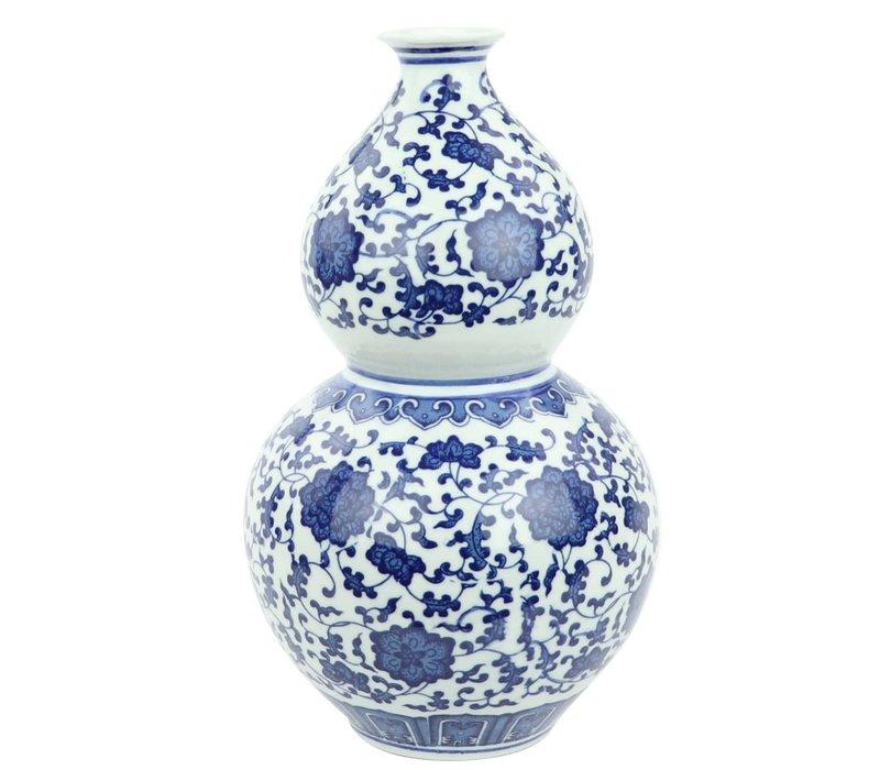 Chinese Vase Porcelain Lotus Blue White D19xH33cm