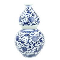 Chinese Vase Porcelain Lotus Blue White D19xH33cm