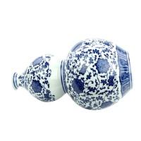 Vaso Cinese in Ceramica Porcellana Loto Blu e Bianco D19xA33cm