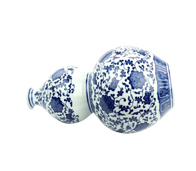 Chinese Vaas Porselein Lotus Handgeschilderd Blauw-Wit D19xH33cm