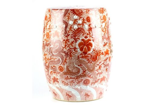 Fine Asianliving Keramik Hocker Gartenhocker Porzellan Handbemalte Drachen Rot D33xH45cm