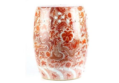 Fine Asianliving Taburete Ceramica Chino Dragones Pintados a Mano Rojo D.33 x Alt.45 cm
