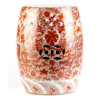 Keramiek Kruk Porselein Bijzettafel Handgemaakt Handgeschilderd Draken Rood   D33xH45cm