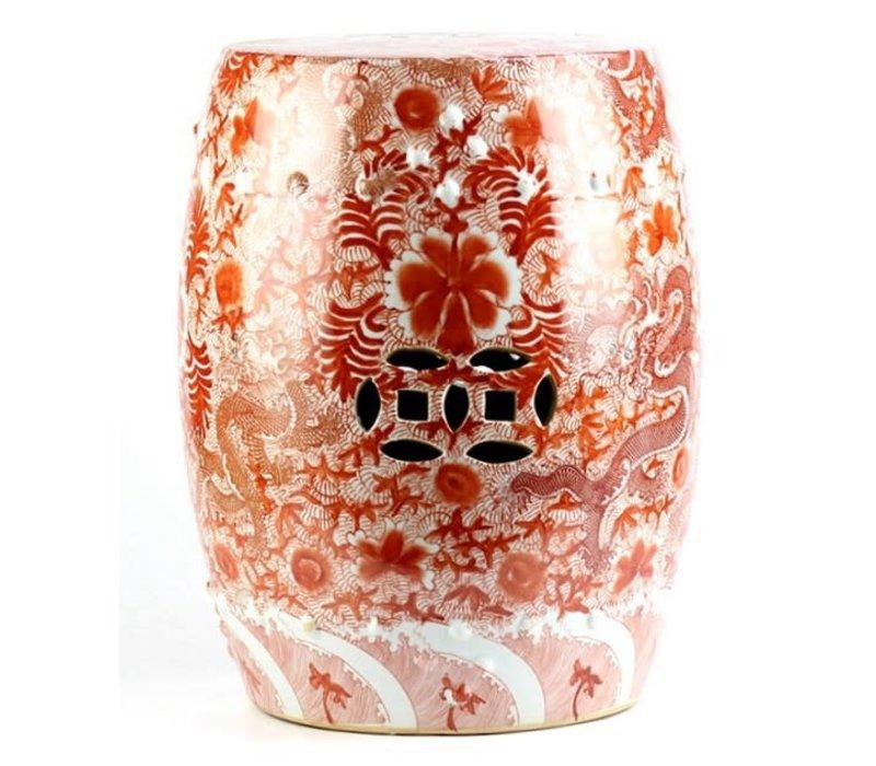 Fine Asianliving Keramiek Kruk Porselein Bijzettafel Handgemaakt Handgeschilderd Draken Rood   D33xH45cm