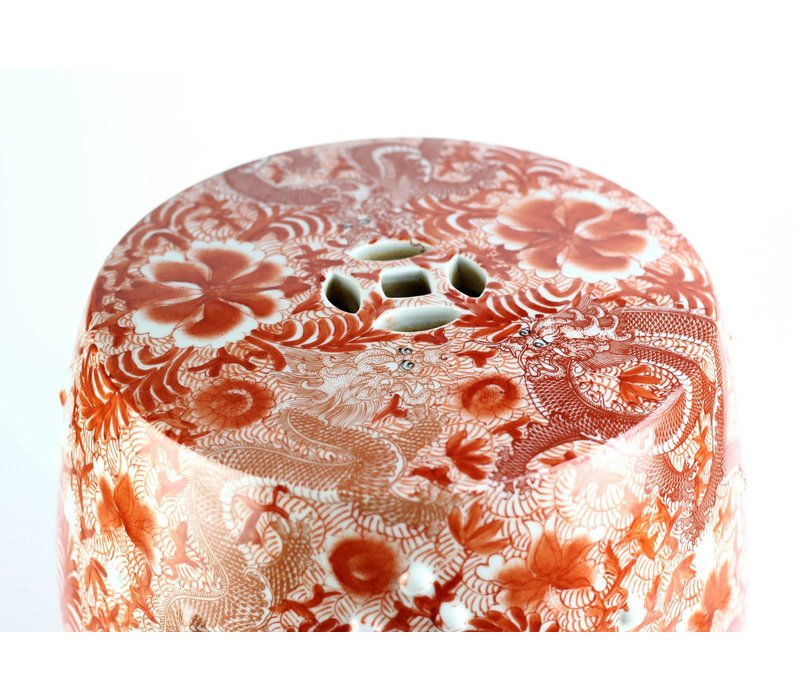 Ceramic Garden Stool Porcelain Handpainted Dragons Red  D33xH45cm