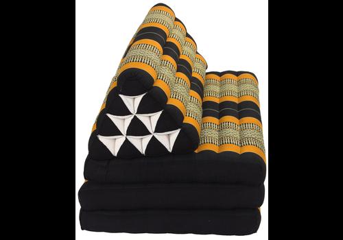 Fine Asianliving Thai Cushion Three-fold 80x190cm Triangle Cushion XXXL 8 Roll Seat Black Orange