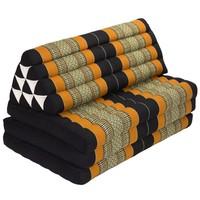 Thai Cushion Three-fold 80x190cm Triangle Cushion XXXL 8 Roll Seat Black Orange