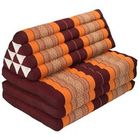 Thai Cushion Three-fold 80x190cm Triangle Cushion XXXL 8 Roll Seat Burgundy Orange