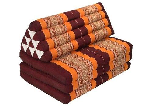 Fine Asianliving Thais Kussen Meditatie Driehoek Vloer Ligmat Yoga Uitklapbaar Kapok 90x190cm XXXL Bordeaux Oranje