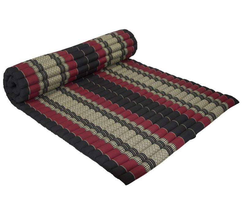 Thaise Mat Oprolbaar Matras 200x100x4.5cm Zwart Rood