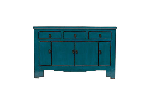 Fine Asianliving Antique Chinese Sideboard Glossy Teal W132xD41xH91cm